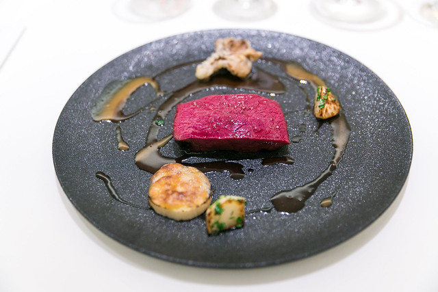 Wild venison from Hokkaido, one shot killed, pan seared, 220 degrees in the oven for 3 hours, cooked over 20 times in and out of the oven, Belgium black beer sauce, sherry vinegar, burdock root, venison stock juice, yam potato with hazelnut paste, Japanes
