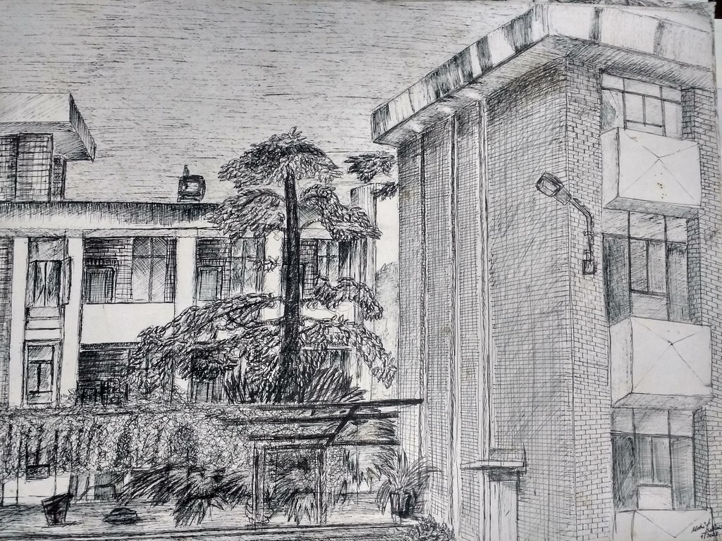 Landscape hatching drawing made by MOHIT KUMAR RAO 2011