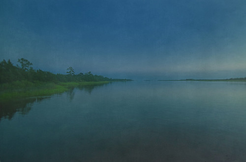capefearriver wide angle night sky horizon textured painterly green blue flowing riverbank landscape