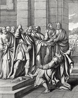 Luke in the Phillip Medhurst Collection 597 The death of Ananias Acts 5:1-6 Caspar Luyken
