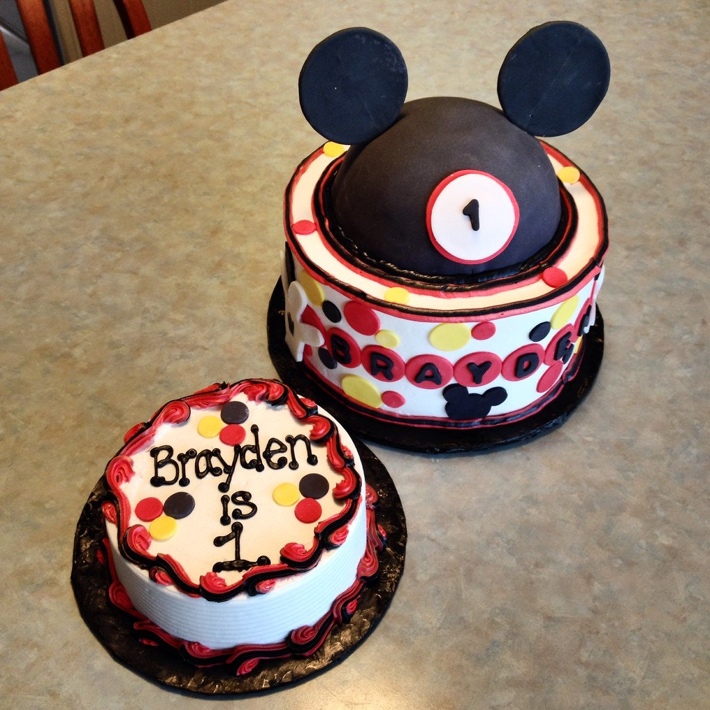 Groovy Mickey Mouse 1St Birthday Cake Smash Cake A Photo On Flickriver Funny Birthday Cards Online Sheoxdamsfinfo