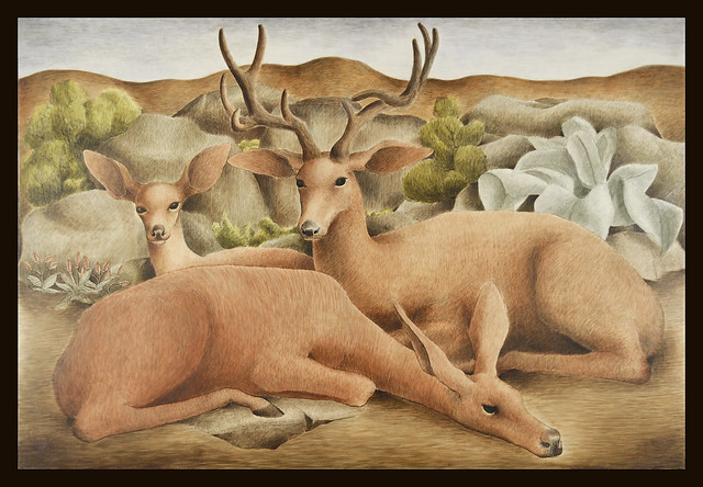 Painting of Deer; from US District Court Eureka;  after restoration