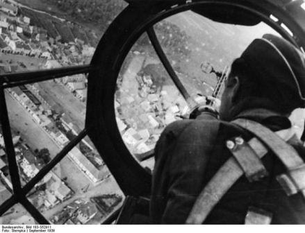 Vista desde un bombardero Heinkel He 111