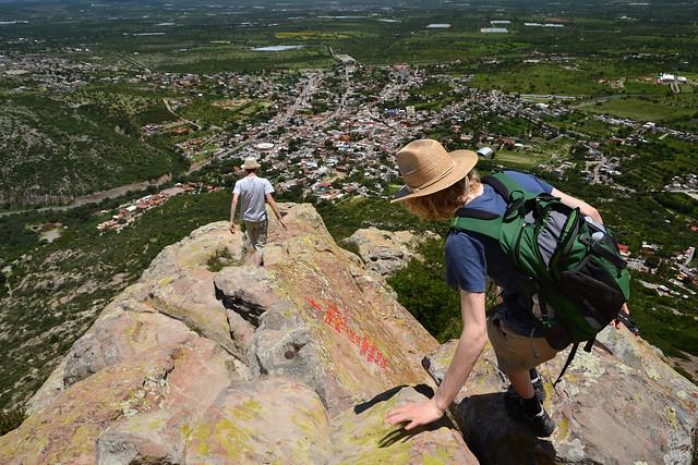 Climbing down Peña de Bernal