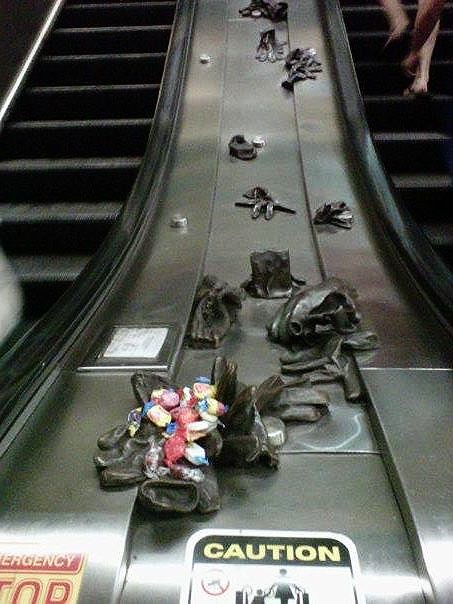 Thoughtfully-left CandySnacks. Porter Square Red Line escalators. Part of the