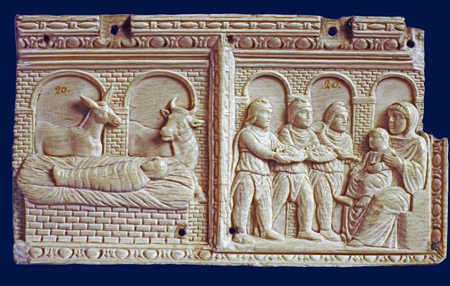 Nativity & Adoration of the three Magi - ivory plate [400-425 AD]