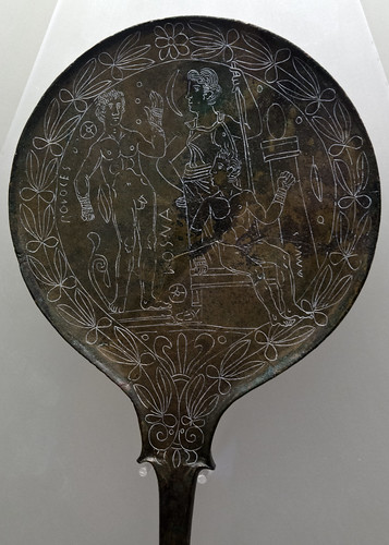 Inscribed bronze mirror depicting Pollux and Amykos, from Praeneste
