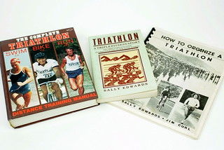Sun, 01/18/2015 - 19:04 - Sally Edwards' self-published, Triathlon: A Triple Fitness Sport (1982) is the first text to address the sport. Then is 1983, she and Jim Curl team to pen tips and ideas on how to actually stage an event. Patricia Bragg's 1985, The Complete Triathlon (1985) is largely a collection of meandering ephemera that is a fascinating vehicle to study period ideas about triathlon.