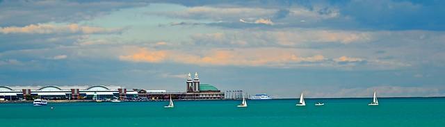 Navy Pier - View From Adler Planetarium - Lake Michigan - Chicago IL
