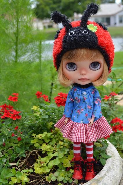Nina loves her new ladybug hat