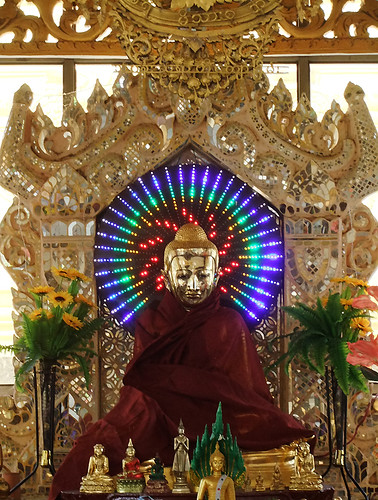 Neon-Lit Buddha a Pagoda in Mandalay, Myanmar