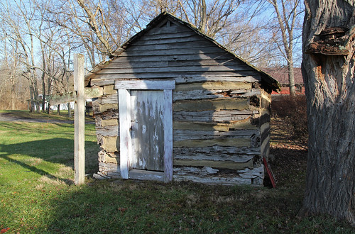 county door wood trees winter ohio building tree vertical creek pen early village cross board logs structure historic steeple single warren moved agriculture siding bushes pioneer exposed caesars gable township elam massie outbuilding smokehouse relocated onestory hewn harveysburg chinking notching daubing hewed