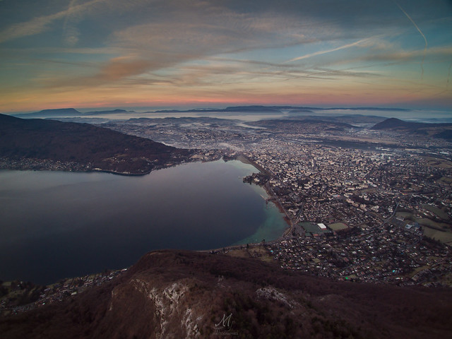 Sunrise - Annecy from Drone
