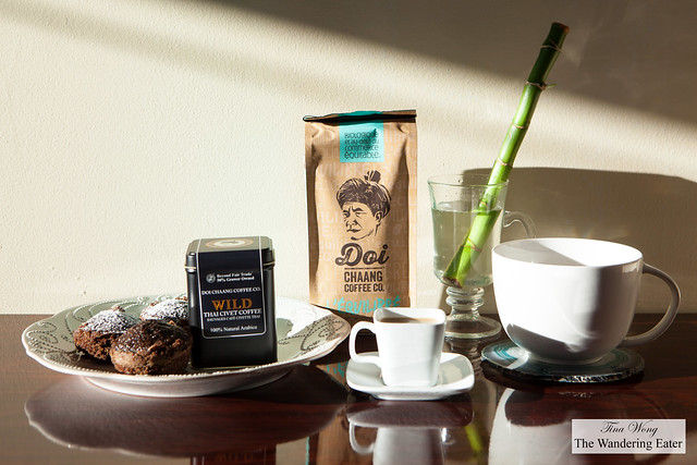 Doi Chaang Civet Coffee & Social Medium Blend Coffee with my chocolate coffee cakes