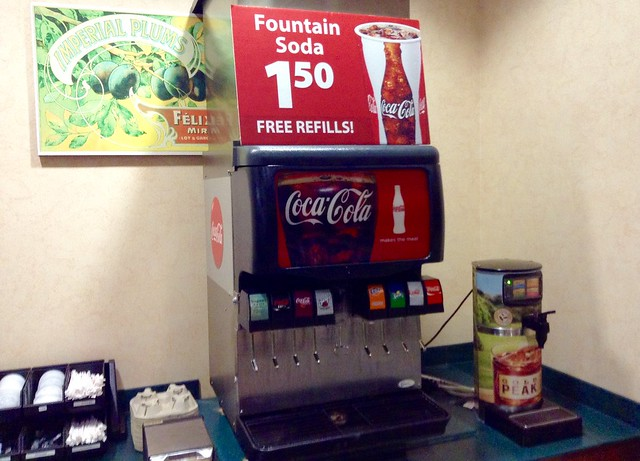 Coca Cola Soda Fountain Free Refills Sign, Childhood Obesity, Diabetes