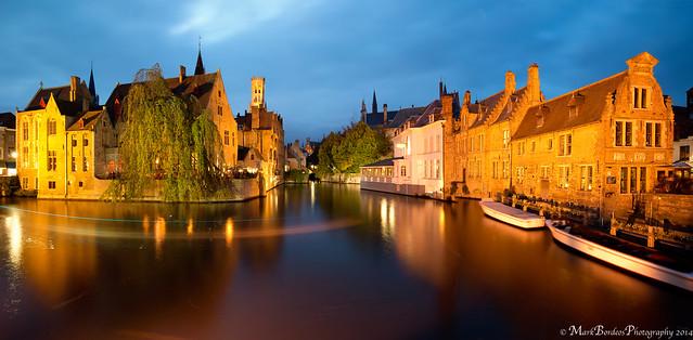 Blue Hour in Rozenhoedkaai, Bruges, Belgium.