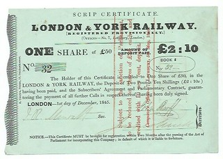 London and York Railway Scrip Certificate 1845 | by ian.dinmore