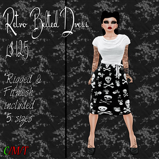 SC Retro Belted Dress - Black & White Skulls Ad