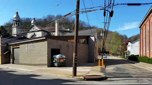 pittsburgh urban landscape urbanlandscape road corner neighborhood sharpsburg church spires intersection