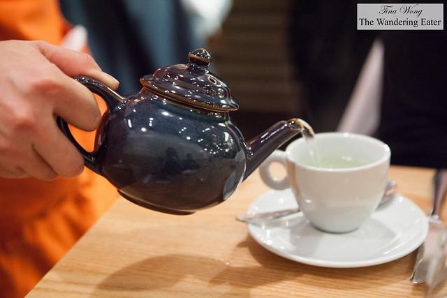 Pouring French Verveine tisane tea