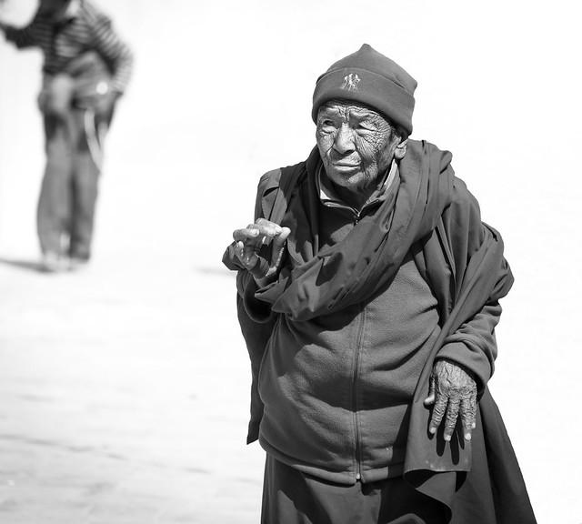 Pilgrim at Bodhnath Stupa, Nepal.