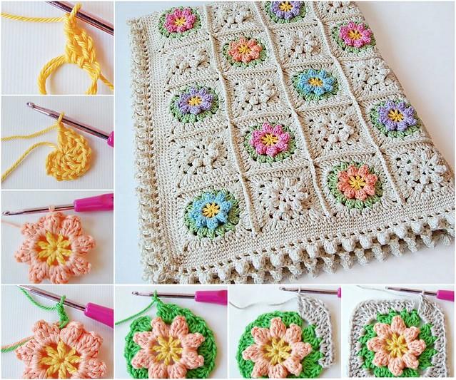crochet Fl ower Granny Squares blanket