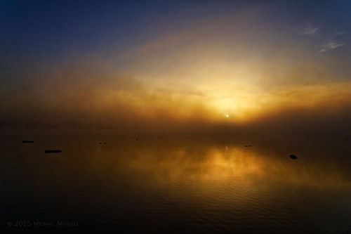 morning blue sun mist lake reflection nature water misty fog rural sunrise landscape gold dawn pond colorado weld foggy co windsor windsorlake menefee michaelmenefee