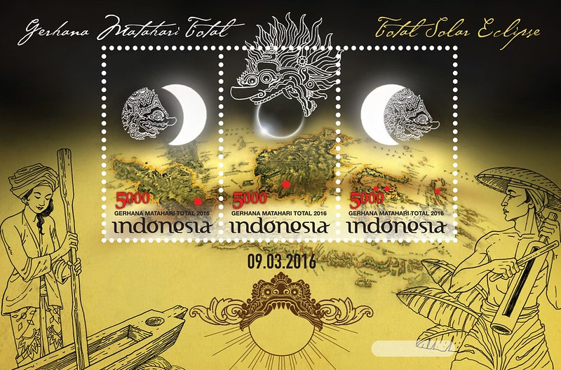 francobollo Eclisse Indonesia