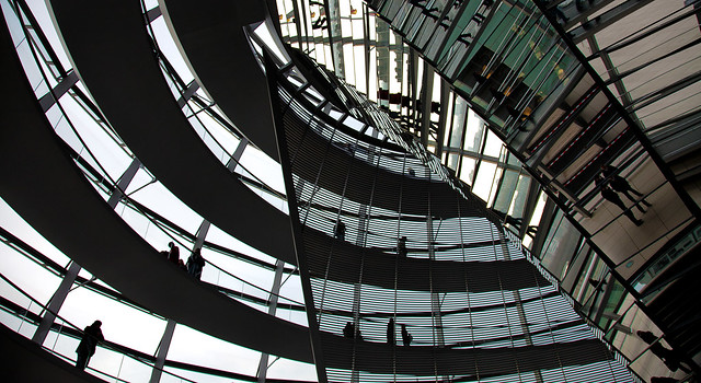 In the dome of the Reichstag in Berlin