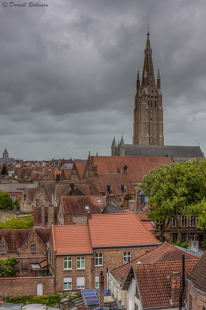 Red Roofs Under Church of Our Lady Spire