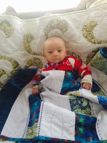 Baby quilt delivered while recipient was still a baby.  (Hi, Gabe!)