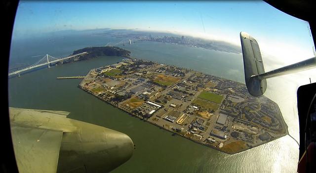 B-25 over Treasure Island
