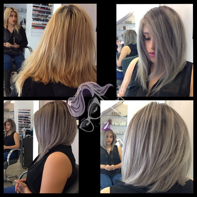 d364f9151 ... Here is Jessica's #beforeandafter @yeska1030 from brassy #blonde #color  to #silverhair