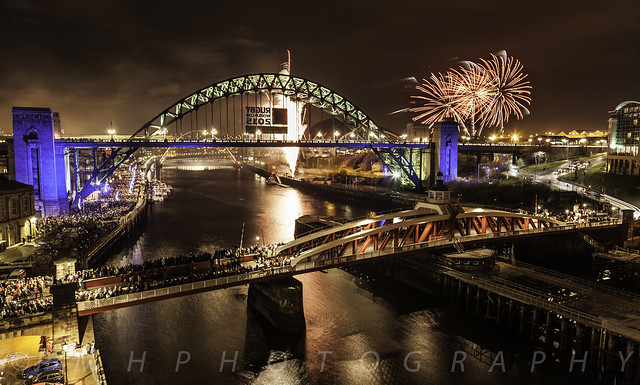 Newcastle upon Tyne - Bridges - New Years eve 2014