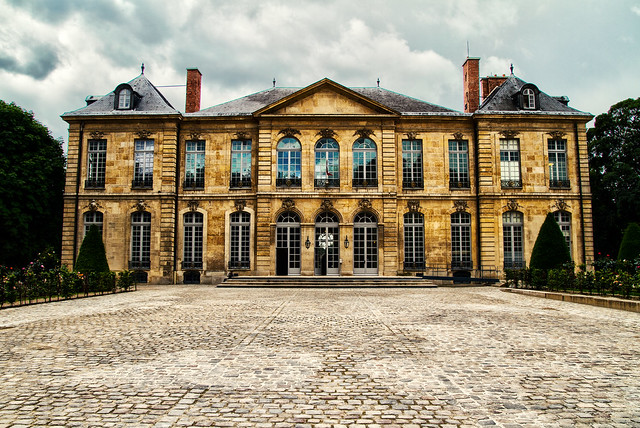 full frontal view of the magnificent Hotel Biron, home of Musee Rodin (Rodin Museum) in Paris, France