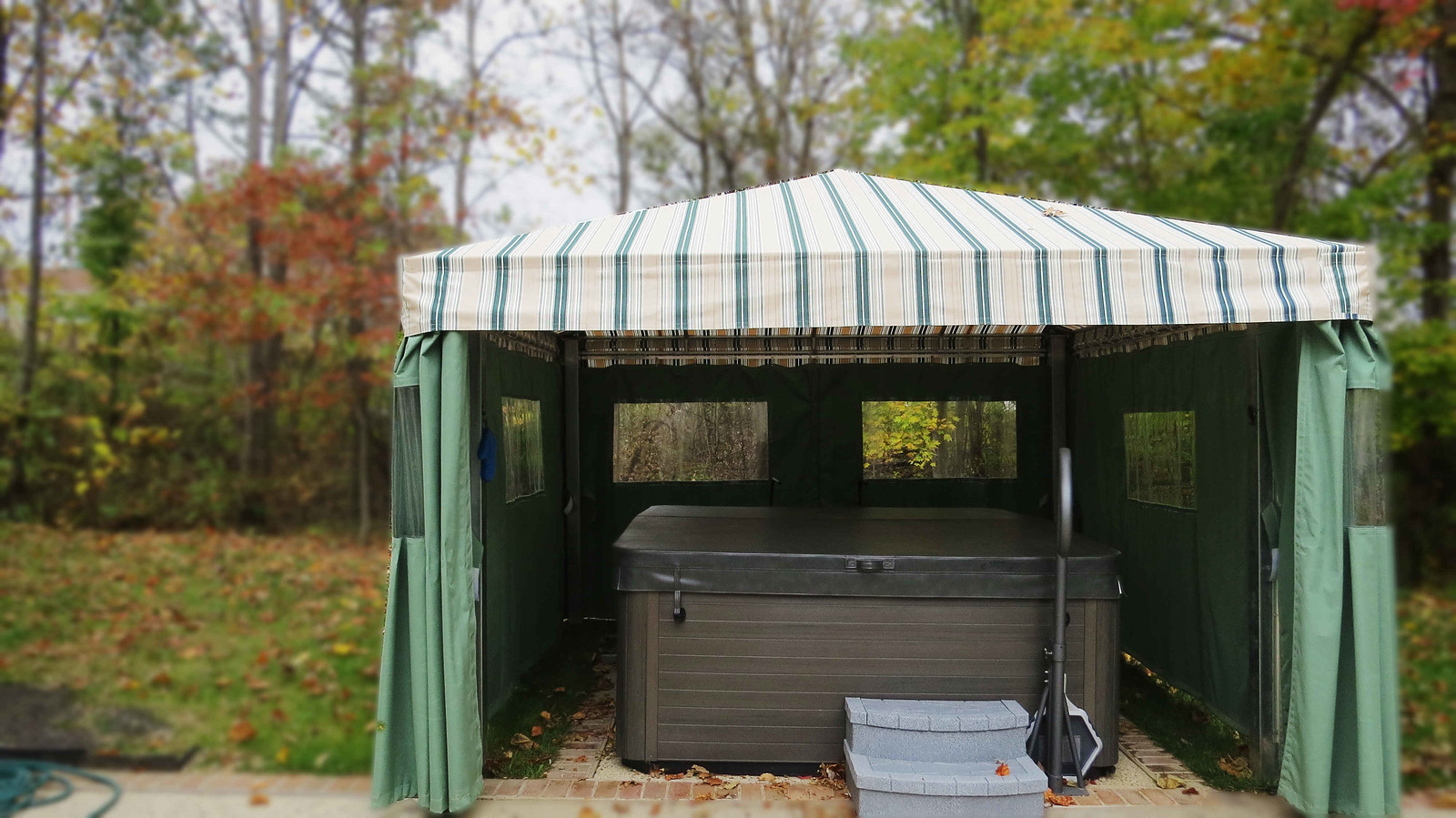 Hot Tub Awning with Privacy Curtains