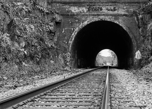 railroad white black monochrome graffiti perspective tracks maryland tunnel rails 1902 sykesville