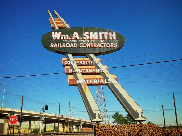 Railroad track-shaped vintage neon sign? Yeah!