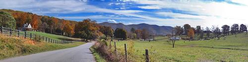 road autumn panorama mountains color beautiful animals clouds landscape virginia us unitedstates farm bluesky va farmanimals autumncolor 2014