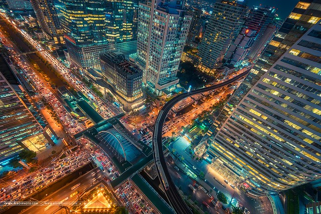 Sathorn, the business district of Bangkok at rush hour