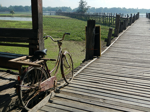 Bicycle on U Bein Bridge in Mandalay, Myanmar