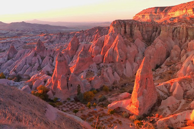 Red valley - Goreme, Cappadocia, Turkey.  Pink rock formation reflected in the evening sun.