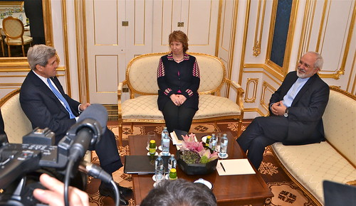 Secretary Kerry, Joined By Baroness Ashton of the European Union, Speaks With Iranian Foreign Minister Zarif Before Resuming Three-Way Nuclear Talks in Vienna   by U.S. Mission to International Orgs in Vienna