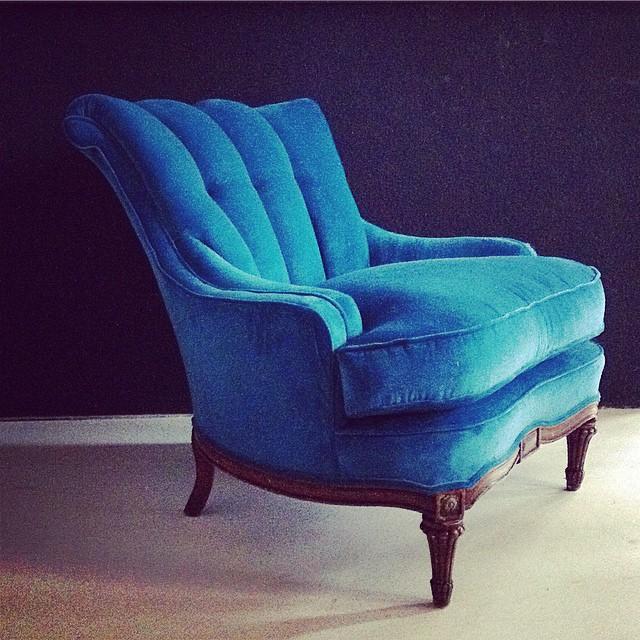 Peacock Blue Reworked Vintage Armchair