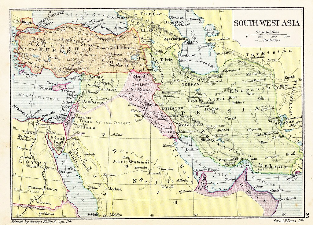 SouthWest Asia map - Pear\'s Cyclopedia 1926- | Borders of th ...