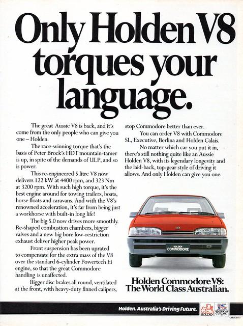 1986 VL Holden Commodore 5 Litre V8 Page 2 Aussie Original Magazine Advertisement630