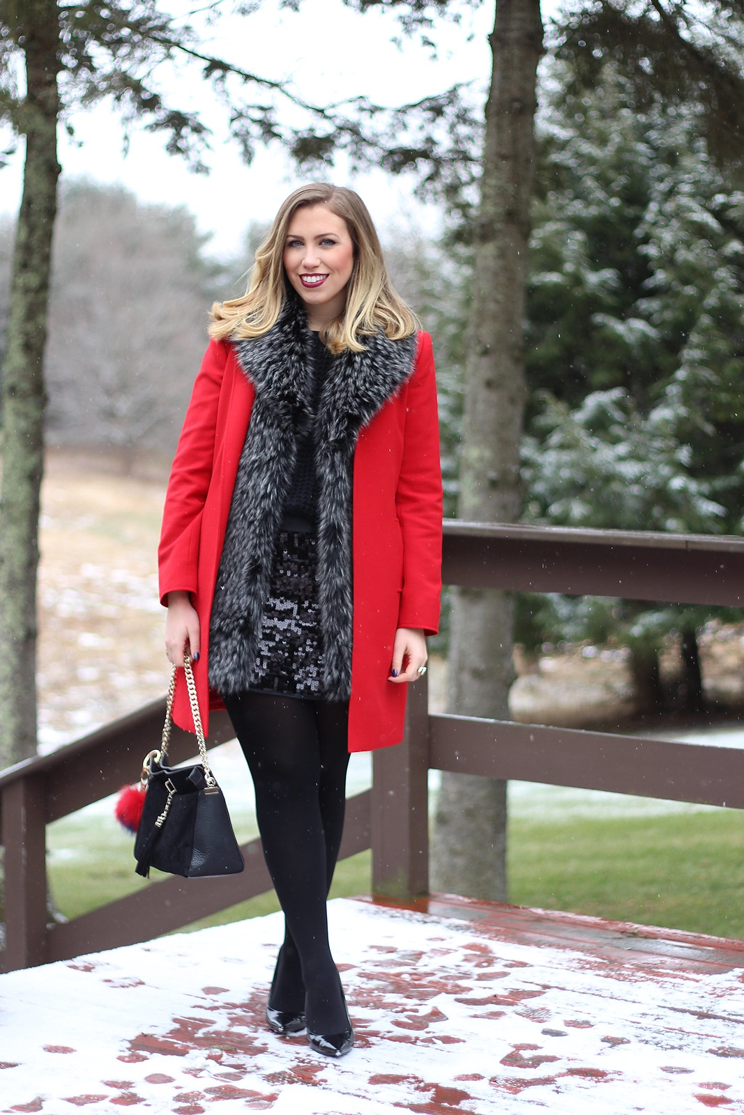 Red Winter Coat | Faux Fur Vest Collar | Black Sequin Mini Skirt | Holiday Party Outfit | A Look Back at 10 Years of Blogging Living After Midnite Blogger Jackie Giardina