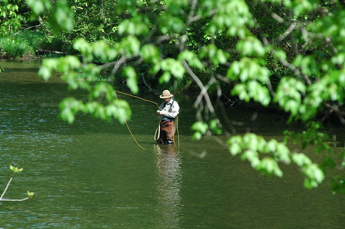 Photo of man fishing in a creek