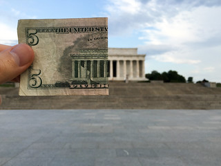 Five Dollars Off the Lincoln Memorial