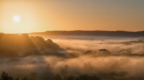morning autumn trees orange sun sunlight mist colour fog clouds sunrise dawn sony rays herefordshire common autumnal sal mellow wisps bromyard bringsty a99 70400